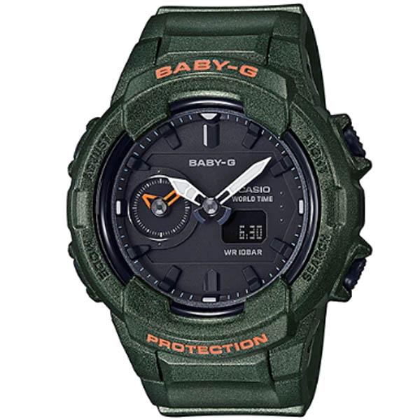 BGA 230S 3A 01 - Đồng Hồ Nữ Casio Baby G BGA-230S-3AWorld Time Dây Nhựa Màu Xanh Rêu