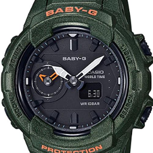 BGA 230S 3A 4 - Đồng Hồ Nữ Casio Baby G BGA-230S-3AWorld Time Dây Nhựa Màu Xanh Rêu