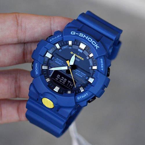 GA 800SC 2A 6 - Đồng Hồ Nam G Shock GA-800SC-2A Dây Nhựa Màu Xanh