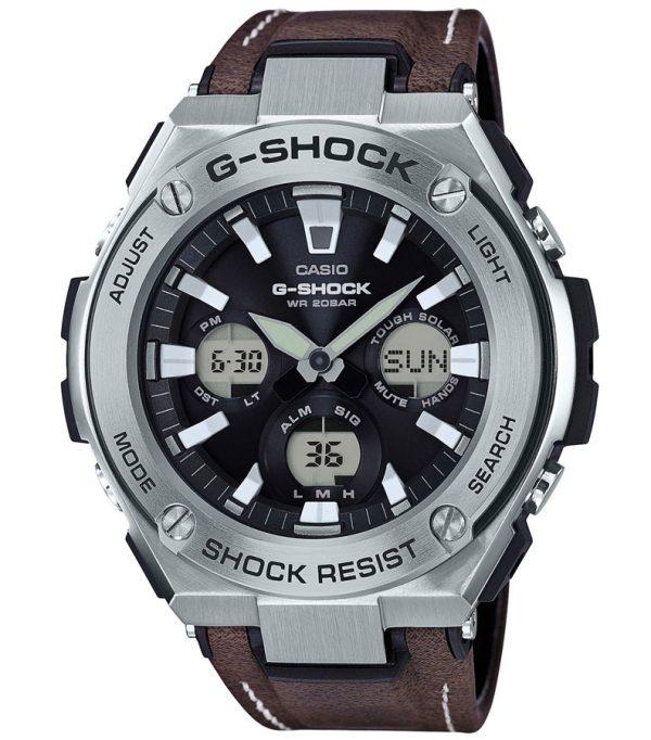 GST S130L 1ADR 00001 600x682 - Đồng Hồ Nam Casio G Shock GST-S130L-1ADR Dây Đeo Bằng Da Thô